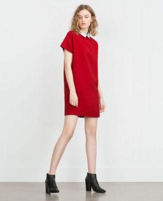Zara-vestido-rojo-cuello-popelin-blanco