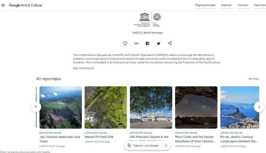 Acceso a la selección de la Unesco con el Paisaje Cultural en el desplegable inferior 900x519 - Unesco incluye a Risco Caído en la selección de joyas de la humanidad que se muestra al mundo en Google Arts & Culture