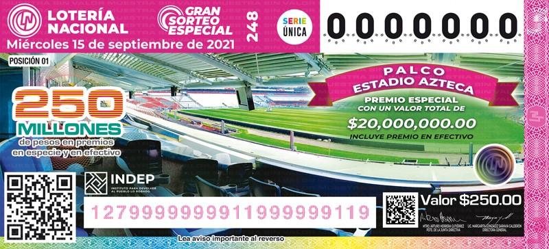 Sorteo Gran Especial 248 - México.- Gran Sorteo Especial 248 de la Loteria Nacional del Miércoles 15 de Septiembre de 2021